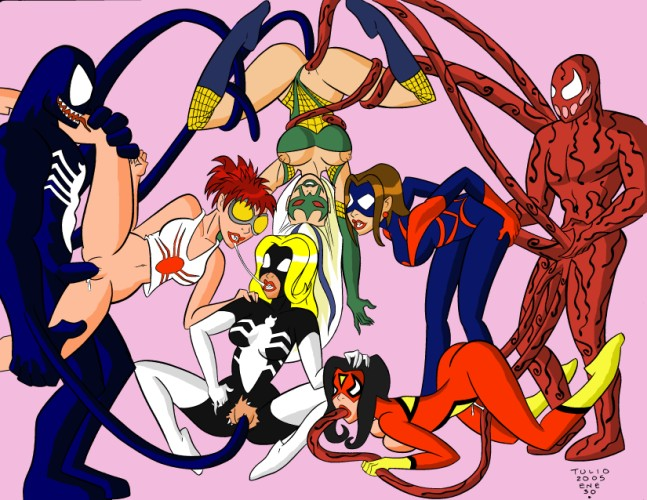 and spiderman girl kiss spider Papi the harpy
